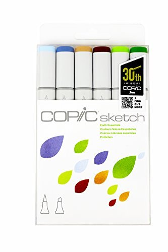Copic Marker SKST6-EARTH Sketch Markers, Earth Essentials, 6-Pack