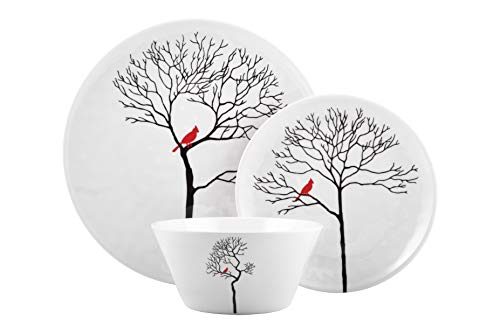 Melange 36-Piece Melamine Dinnerware Set (Christmas Collection) | Shatter-Proof and Chip-Resistant Melamine Plates and Bowls | Design: Bird in Forest | Dinner Plate, Salad Plate & Soup Bowl (12 Each)