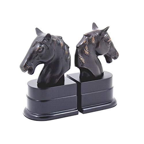 Bey-Berk R18H Cast Metal Horse Head Bookends with Bronzed Finish Black Wood Base,