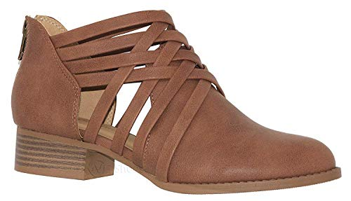 - Women's Ankle Bootie Woven Strappy Weeve Criss Cross with Low Chunky Heel, Tan, 7