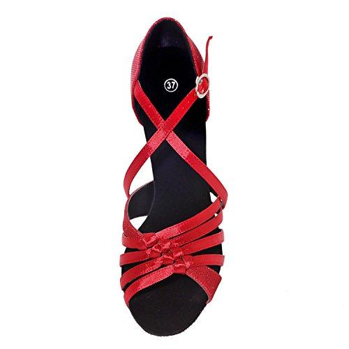 L@YC Frauen Latin Dance Schuhe Kunstleder Sandalen niedrig mit 7,5 cm Multi-Color große Yards Red