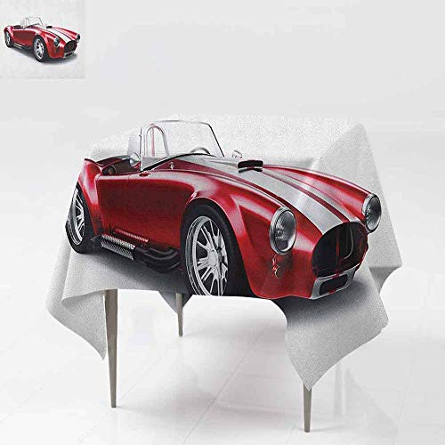 SONGDAYONE Durable Square Tablecloth Cars Old Fashioned Vintage Coupe Car Automobile Illustration with Digital Smooth Color Effects Protection Table Red W60 - Provincial Coupe