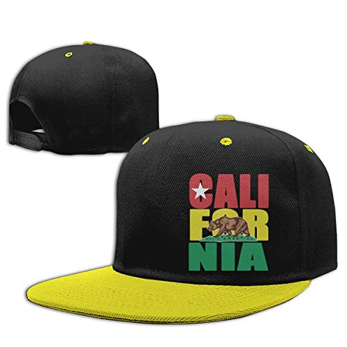 (Age 2-9) California Bear Republic Kids Hip Hop Baseball Cap, Fun Adjustable Sun Hat Yellow