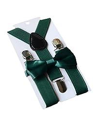 Unisex Kid Girl Boy Elastic Suspenders Bowtie Bow Tie Set Birthday Children's Day Gift for 1-10 Year Old Kids Daily Wear Attending Wedding Party Dark Green