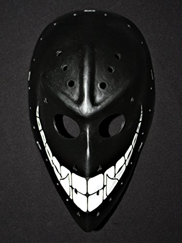[1:1 Custom Paint Fiberglass Roller NHL Ice Hockey Goalie Mask Helmet Black Smiley HO64 am] (Hockey Mask For Sale)