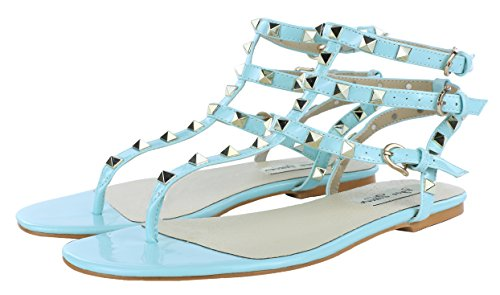 Royou Yiuoer Women's Leather Studded Sandals T-Strap Flats Sandals Blue 7 B(M) US