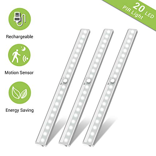 Under Cabinet Lighting, Motion Sensor Closet Lights OxyLED 20 LED USB Rechargeable Under Cabinet Lights Wireless Under Counter Lighting, Motion Led Light Bar for Closet, Cabinet (T-02S, 3 Pack)