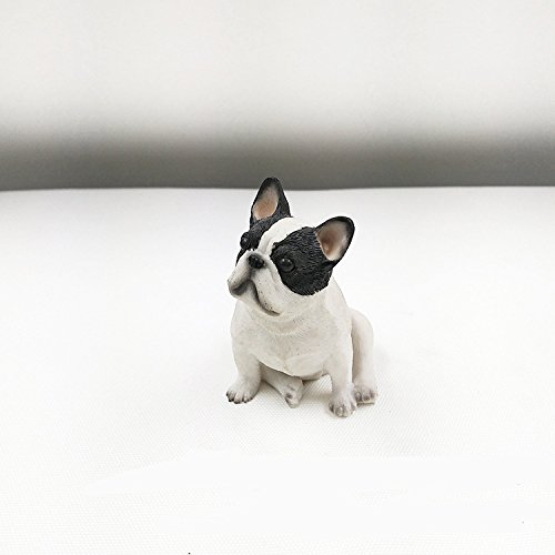 iChoue French Bulldog Resin Sculpture Cute Ornament Toy (Black White)