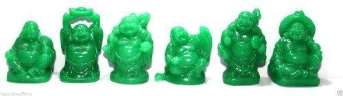 Set of 6 Jade Color Feng Shui Laughing Buddha Statue Figures Luck & (Mini Buddha Charm)