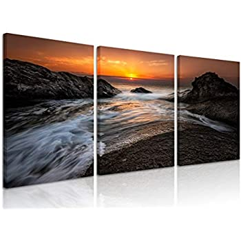 Natural art Canvas Wall Art for Bedroom Home Office Decorations 3 Panels Black Reef Pictures Modern Stretched and Framed Sea Landscape Paintings 12 X 16 Inches