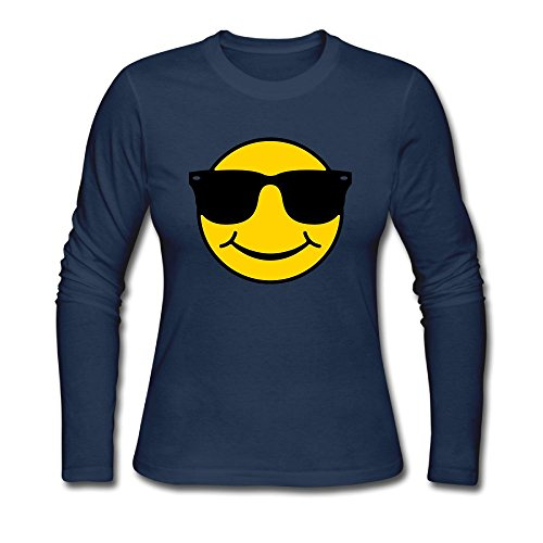 Smiley With Sunglasses Women's Autumn Long Sleeve T Shirt Crew Neck - Sunglasses Risky Tom Cruise Business