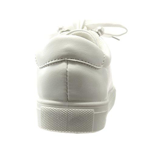 Perle Basse Cm Femme Mode Bijoux Chaussure Baskets Talon 0 Angkorly Blanc Plat x6qwX7Fax