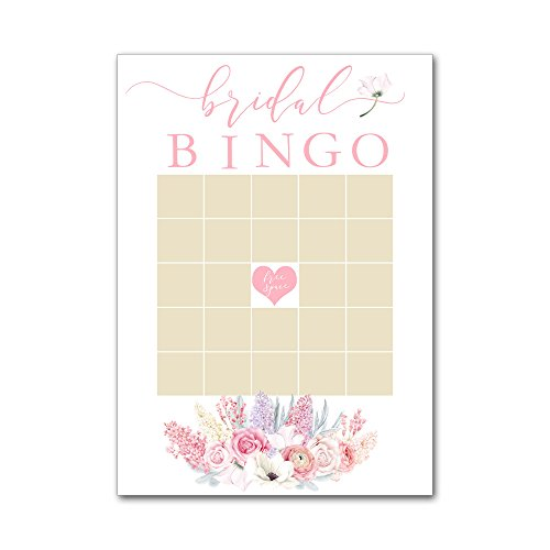 Bingo Game Cards for Bridal Wedding Showers with Watercolor Lilacs Flowers in Pink BBG8027 by Heads Up Girls