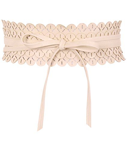 Cream Crochet Lace Belt PU Leather Waist Band Self Tie Wrap Around