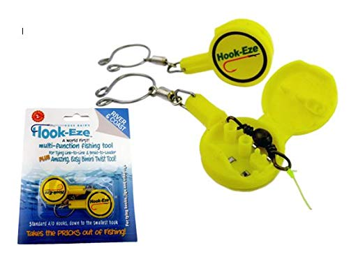 HOOK-EZE Fishing Gear Knot Tying Tool for Fishing Hooks - Cover Hooks on Fishing Rods | Line Cutter | for Saltwater Freshwater Bass Kayak Ice Fishing (Yellow) (Best Bass Tab Site)