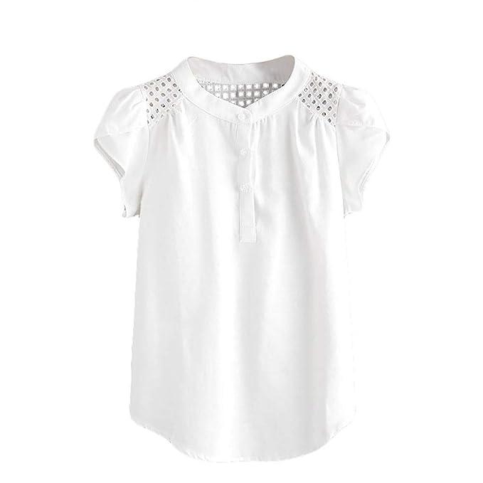 Bestow Color sólido de Mujer Camiseta de Manga Corta Top Manga de Mariposa Tops Ocasionales Blusa O-Cuello Ahueca hacia Fuera la Camiseta: Amazon.es: Ropa y ...