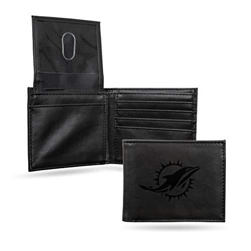 Rico Industries NFL Miami Dolphins Laser Engraved Billfold Wallet, Black