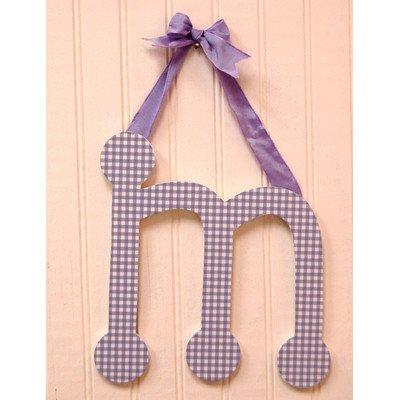 Gingham Letters Check Hanging Initials Color: Lavender, Letter: M
