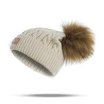 0b15636499a432 World 2 home New Fashion Pompoms Winter Hat Children Knitted Skullies  Beanies Girls Boys Pom Poms Warm Caps Thick Winter Kids Women Hats:  Amazon.in: ...