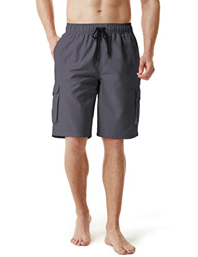 TM-MSB01-DGY_Large Tesla Men's Swim Trunks Quick Dry Water Beach MSB01