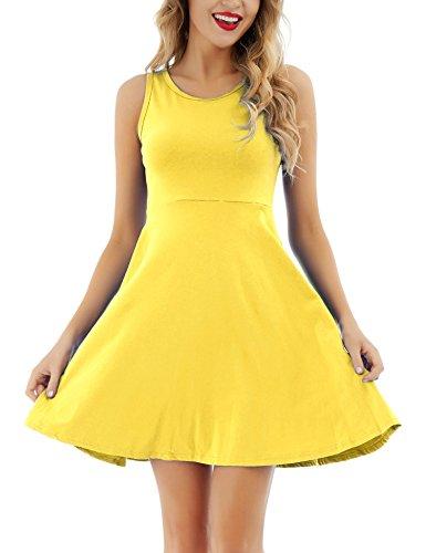 Uniboutique Women's Sleeveless Round Neck Summer Beach Midi A-Line Flared Tank Dress Yellow M