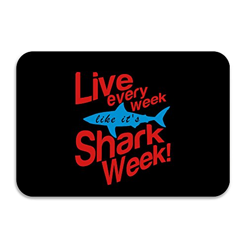 Live Every Week Like Shark Week Doormat And Dog Mat ,40cm 60cm Non-slip Doormats,Suitable For Indoor Outdoor Bathroom Kitchen Doormat And Pets (Cape Cod Braided Rugs)