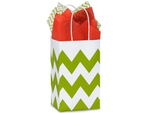 Apple Green & White Chevron Small Shopper Gift Bags - Quantity of 25 -