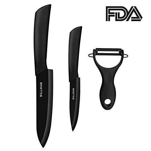 "Ceramic Knife Fruit Knife 6"" Chef Knife 4"" Paring knife Fruit Peeler Black Kitchen Knife Set with Sheaths Cutlery Knife"