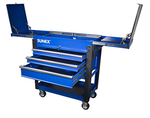 Sunex 8035XTBL 3 Drawer Service Cart with Sliding Top- Blue