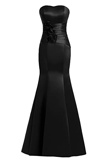 Sunvary Mermaid Sweetheart Flowers Satin Evening Dresses Prom Gowns-6-Black