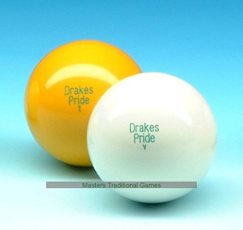 Set of 6 Drakes Pride Standard Outdoor Yellow Lawn Bowls Jacks