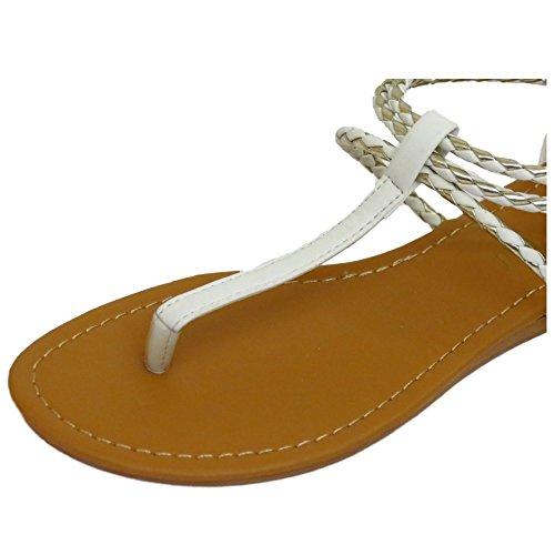Damen Weiß Zehensteg Sandalen Flach Flip Flop Schuhe T-Riemen Reißverschluss Sommer Turnschuhe UK 3-8