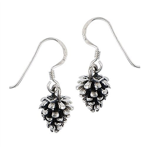 - Wilderness Pine Cone Outdoors .925 Sterling Silver Camping Dangle Tree Earrings