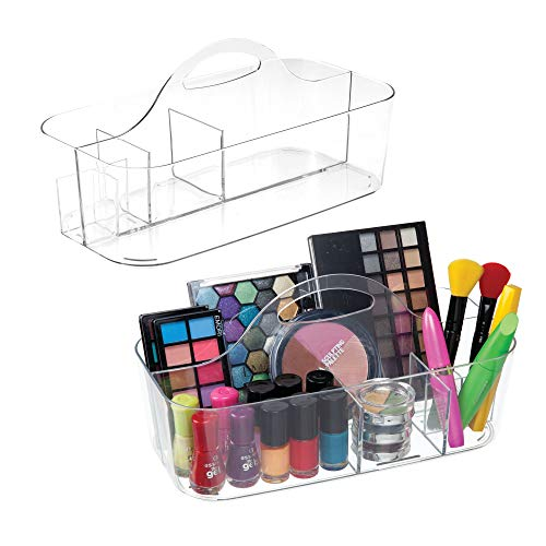 (mDesign Plastic Makeup Storage Organizer Utility Tote Caddy with Handle for Organizing Eyeshadow Palettes, Nail Polish, Makeup Brushes, Blush, Cosmetic and Shower Essentials - Pack of 2, Large, Clear)