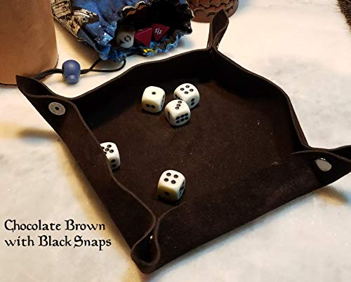 Metal Combo Dice - Suede Leather Collapsible Dice Tray