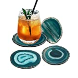 "AMOYSTONE Teal Agate Coaster 3.5-4"" Dyed Sliced"