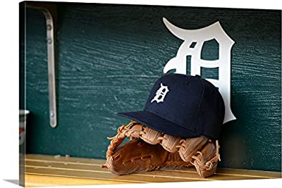"""A Baseball Glove Detroit Tigers hat Sitting in The Dugout - Canvas Wall Art Gallery Wrapped Ready to Hang - 48""""x32"""""""