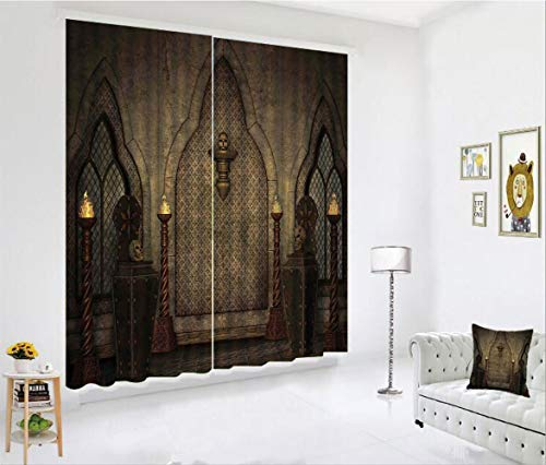 SCOCICI Blackout Curtain Set for Living Room,Fashioned Wooden Torch and Skull Candlesticks,Decor Creative 3D Printed Blackout Window Drape for Bedroom Kids Room Window Treatments(2 Panels)