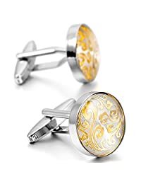 MOWOM Silver Gold Two Tone 2PCS Rhodium Plated Cufflinks Clouds Flower Shirt Wedding Business