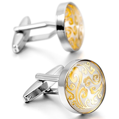 MOWOM Silver Gold Two Tone 2PCS Rhodium Plated Cufflinks Clouds Flower Shirt Wedding Business (Two Tone Cuff)