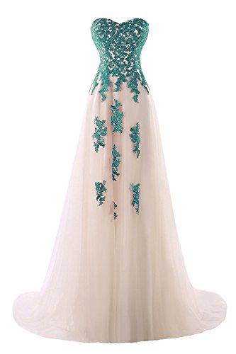 Abendkleider Elegant Damen Beyonddress Partykleid Applikationen Tüll Peacock Hochzeitskleid Ballkleid mit Lang Schatz qt6qXn7wg