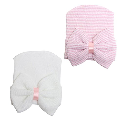 JustMyDress Newborn Baby Hospital Cap with Bowknot Toddler Infant Hat Baby Beanie Caps JB63