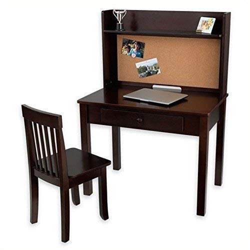 KidKraft Pinboard Wooden Desk with Drawer, Hutch with Shelf and Chair - Espresso