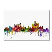 Detroit Michigan Skyline by Michael Tompsett, 16x24-Inch Canvas Wall Art