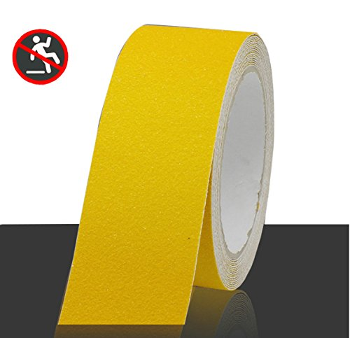 Professional Non-Slip Safety Tape, High Traction Grip for Stairs, Steps, Boats, Garage, Ladders, Slip-Resistant Strong Adhesive Treads, Indoor Outdoor (Width: 2 in × Length: 16.4 ft, Yellow) (Floor Tread Tiles Garage)
