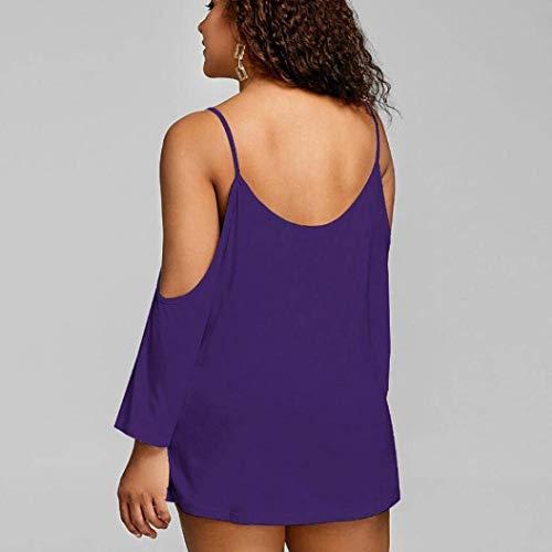 Manches Plage pissure Costume Shirts Oversize Femme Violet Baggy Mode Chemisiers Tops Chic Haut Elgante Off Long Loisir Shoulder Tunique Et Dentelle InfnZqY4z