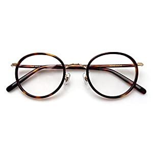 Komehachi - Womens Mens Retro Oval Optical Prescription-Ready Eyeglasses Frame with Clear Lenses (Tortoise&Gold)