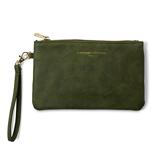 Adrienne Vittadini Zip-Around Charging Wristlet with Detachable Strap (Distressed Green)