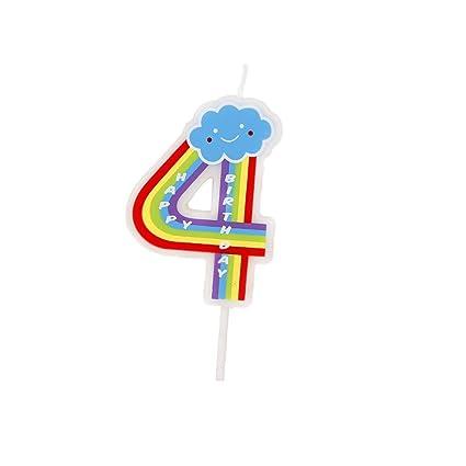Número velas, 4 números, multicolor, velas de feliz cumpleaños para adultos y niños Happy Time