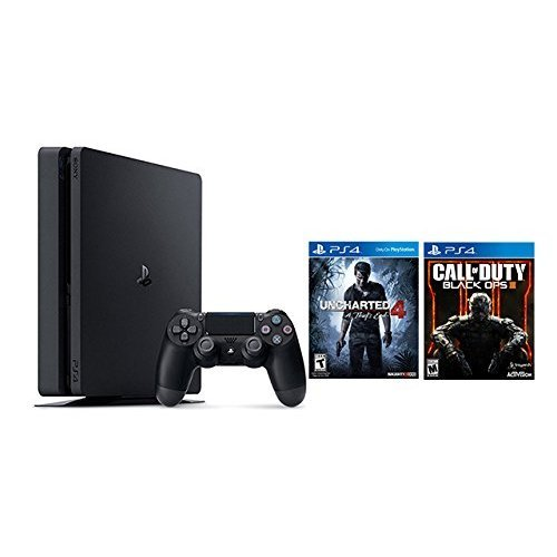 Playstation 4 Slim 2 items Bundle: PlayStation 4 Slim 500GB Console - Uncharted 4 Bundle and Call of Duty Black OPS III Game Disc (Ps2 Games Call Of Duty Black Ops)